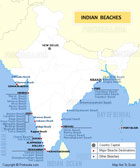 Map showing popular beaches in India